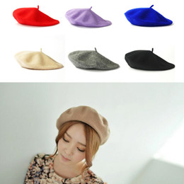 60a9fedd wholesale womens berets 2019 - 17 Color Womens Wool Beret Solid Spring  Autumn French Artist Beanie