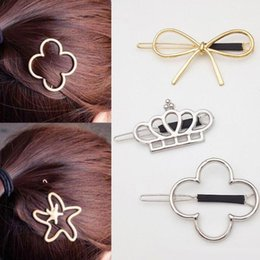Vintage Style Hair Clips Australia - Mixed Styles Vintage Gold  Silver Crown Four Leaf Clover starfish HairPin Girls' Hair Clips Hair Accessories Free Shipping