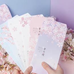 Scrapbooking Paper Packs Australia - 6 Pcs pack Lovely Fresh Dream Sakura Flowers Paper Envelopes DIY Greeting Card Cover Scrapbooking Envelopes Gift