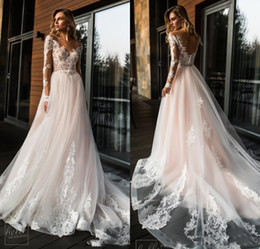 $enCountryForm.capitalKeyWord Australia - New Blush Pink Lace and Tulle Country Boho Wedding Dresses V Neck Long Sleeves Beach Bohemian Bridal Gowns Sweep Train Vestidos De Noiva