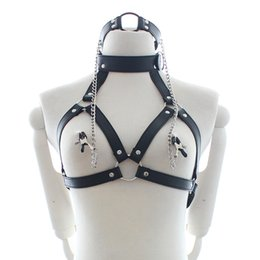 Wholesale Pu Leather Restraints Neck Bondage Nipple Chain Clamps Couples Fetish Erotic Adult Games Sex Toys Y19060302