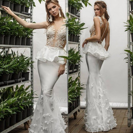 Chinese  Sexy Illusion Lace Top Mermaid Wedding Dresses Butterfly Fitted Peplum Summer Country Bridal Gowns Cheap Custom Made manufacturers