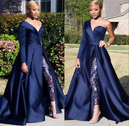 Discount silver sequin jumpsuits - Hot sale One Shoulder Long Sleeve Prom Dresses Pant Suits A Line Dark Navy Evening Prom Party Gowns Jumpsuit Celebrity D
