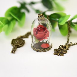 Chinese  Wedding Bridal Necklace Pendant Enchanted Rose petal glass dome mirror Necklace 2019 Vintage Handmade Jewelry For Women Fashion Elegant manufacturers