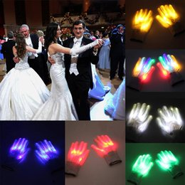 Dance gloves kiDs online shopping - 2 LED Glove Color Changing Luminous Flashing Halloween Skeleton Gloves Stage Costume Christmas Party Event Supply Xmas Dance