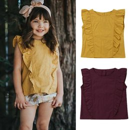 Wholesale Ruffled Girls Tee Australia - Pudcoco 2019 Summer Kids Clothes Ruffle Solid T-Shirt Toddler Baby Infant Girls Tee Top Sleeveless Ruffle Child Outfits Clothes