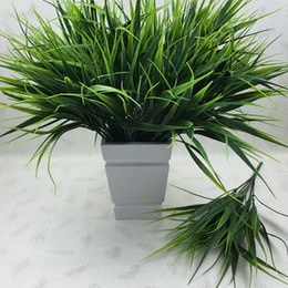 Hanging Plastic Green Flowers Australia - New Green Grass Artificial Plants For Plastic Flowers Household Store Dest Rustic Decoration Clover Plant 7-fork C19041302