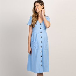 women style pregnant dress Canada - Button Pocket Maternity Dresses For Pregnant Women Clothes Cotton Summer Female Plus Size Pregnancy Dress Maternity Vestidos
