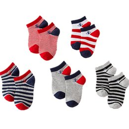 Cotton Children Socks Boy UK - 5pair lot Naval Strip Children Boys Sock Anti Slip Sport Kid Newborn Baby Socks Casual Toddler Girl Short Sock 1-9t
