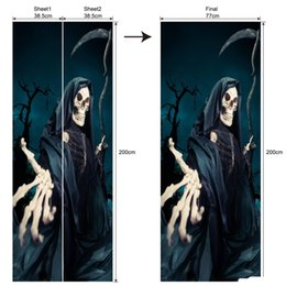 Large Painting Bedroom NZ - 2Pcs Set Newest Halloween Zombie Horror Poster Door Stickers Painting Wallpaper Wall Sticker Party Bedroom Home Decor