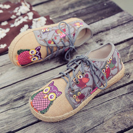 $enCountryForm.capitalKeyWord NZ - Vintage Women Shoes Thai Cotton Linen Canvas Owl Embroidered Cloth Single National Flats Woven Round Toe Lace Up Shoes