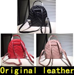 leather tennis bags Canada - Marmont Backpack Designer Backpack High Quality Luxury Handbags Famous Brands Bags Real Original Cowhide Genuine Leather Luxury Backpack