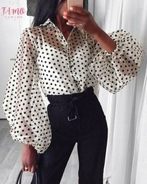 black lapel long sleeve blouse Australia - Lantern Sleeve Fashion Womens Summer Mesh Shirt See Through Polka Dot Long Sleeve Casual Shirts Top Black Lace Sheer Loose Blouse Tops