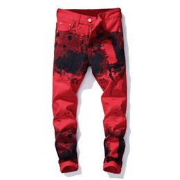 Pants Styles For Men Australia - Fashion Streetwear Mens Motorcycle Biker Jeans Slim Fit Red Color Elastic Punk Pants Hip Hop Jeans Night Club Style Printed Jeans For Men