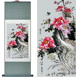 chinese flower decorations Canada - Butterfly And Flowers Painting Home Office Decoration Chinese Scroll Painting Butterfly And Peony Flower Painting