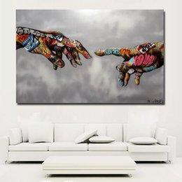 Großhandel SELFLESSLY Klassische Street Art Graffiti Malerei Abstrakte Bunte Hände Bilder Wand Kunstdrucke Poster Für Wohnzimmer