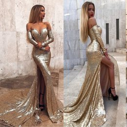 92f91914f3f Plus Size Gold Sequin Prom Dresses 2019 Mermaid Off Shoulder Long Sleeves  Side Split Sexy Evening Gowns Cheap Pageant Special Occasion Gowns