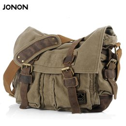 vintage military canvas shoulder bag Australia - JONON Men's Canvas Crossbody Bag Military Shoulder Bags Vintage Messenger Bag Fashion Scholl Bag Tote Briefcase JJ0030 CJ191130