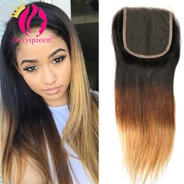 dark roots blonde closure Australia - 7A Ombre Blonde Lace Closure 4*4 Straight Closure Dark Root Color 1b#27 Brazilian Virgin Hair Closure Free Part Free Shipping