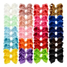 "little hair clips Australia - 3"" Small Hair Bows With Alligator Clips 20 Pairs Hand-made Solid Fabric Ribbon Bows Kids Hair Pins Little Girls Hair Accessories Y19052003"