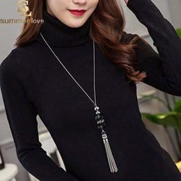 $enCountryForm.capitalKeyWord Australia - Korean Crystal Long Necklace Women Sweater Chain Fashion 2019 New Rhinestone Beads Alloy Tassel Bijoux Shiny Blue Party Jewelry Lady