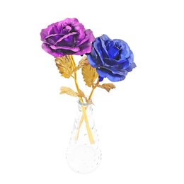 golden wedding roses NZ - 100pcs 24k Gold Foil Plated Rose Gold Rose Wedding Decoration Golden Rose Decor Flower Artificial Para Decoration With DHL Shipping