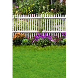 outdoor photo background 2019 - Laeacco Spring Green Grass Flowers Wooden Fence Garden Baby Outdoor Scenic Photography Backgrounds Photo Backdrops Photo