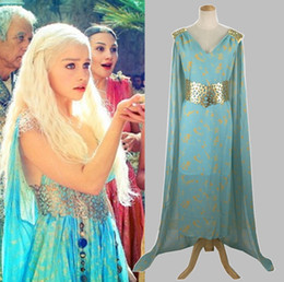 Targaryen dress online shopping - Game of Thrones Costume girls dress with long cape Daenerys Qarth Blue Dress with Belt Khaleesi Gown Daenerys Targaryen cosplay skirts