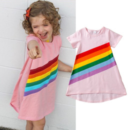 9640cc406304 Summer Kids Baby Girls Rainbow Stripes Dresses Pink Party Sundress Clothes  Solid Short Sleeve Preppy Kid Girl Clothing