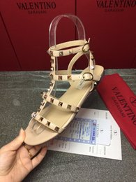 Best Flats Australia - 2019 Quality New fashion Best Buckle-strap Women's shoes Summer Sandals Brand Gladiator Studded Flat with rivets Women Shoes Woman luxury