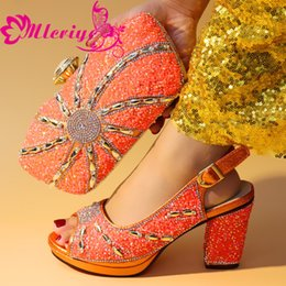 Orange Glitter Australia - 45-1 orange Women Shoes and Bag Set African Sets 2019 Ladies Italian Shoes and Bags to Match