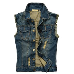 beige denim jacket mens UK - 2019 Men Cowboy Brand Sleeveless Jacket Male Tank Top Ripped Jean Jacket Mens Denim Vest 5XL 6XL Jeans Waistcoat