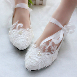 $enCountryForm.capitalKeyWord Australia - Comfortable White Flat Lace Bridal Wedding Shoes 2019 Pearls Women Shoes With Ribbon Appliques Slip-On Cheap Ladies Shoes Hot Sale