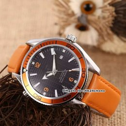 planet ocean orange leather Australia - 6 style 42mm Planet Ocean James Bond 007 Limited Edition Co-Axial Automatic Mens Watch Black Dial Orange Leather Strap Gents Sport Watches