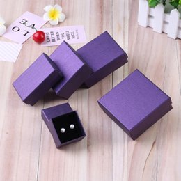 $enCountryForm.capitalKeyWord Australia - 24pcs Square Jewelry Packaging Box High Quality 9*7cm Purple Color Necklace Ring Earrings Bracelet Gift Box for Valentine's Day