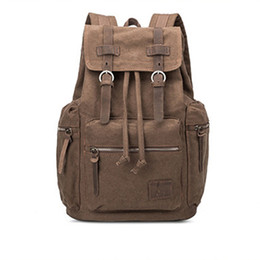 Plastic Drawstring UK - Vintage Leather with Canvas Men Backpack School Male Anti Theft Drawstring Laptop Bagpack Travel Book Bags for Boys
