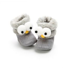 Wholesale Autumn Winter Infant Cartoon Animal Print Boots Shoes Baby Boys Girls Cute Home Walking Newborn Toddler Velvet Kids Warm Boots
