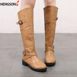 81405019fd63 New Autumn Winter Boots Women Sexy Knee High Calf Biker Boots Ladies Zip  Punk Combat Army Party Women s Shoes