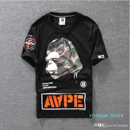 Wholesale mens camo t shirt online – design Summer Lovers Mens Cartoon Apes T Shirts Fashion Crew Neck Short Sleeve Classic Camo Printed Breath Male Tops Tees Cartton Casual Tees