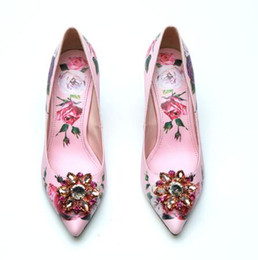 $enCountryForm.capitalKeyWord NZ - Autumn and Winter New Women Thin Heels Genuine Leather with Flower High-heeled Shoes 10cm Pink Rose Drill Diamond Bride Wedding Shoes,