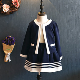Navy cardigaNs online shopping - Retail kids designer tracksuits girls preppy style suits set cardigan ruffle skirt baby tracksuit christmas outfits