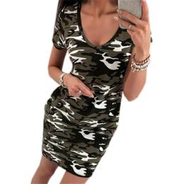 64a96799344 Camouflage Printed Dresses 2019 Fashion Short Sleeve Summer Dress Sexy V  Neck Mini Dress Woman Casual Bodycon Sundress Vestidos