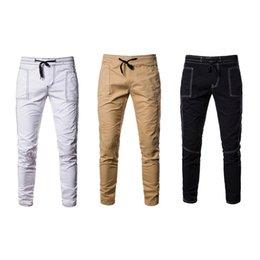 2017 New Hot Cotton Casual Pants Men Sweatpants Autumn Button Pocket Black Blue Grey Male Joggers Long Trousers M-3xl el Barco Fast Deliver