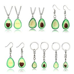 polymer charm wholesale Canada - 10 Styles Fruit Necklace Accessories Polymer Silver Hook Dangle Earrings Avocado Necklaces Earrings Cute Keychain Keyring For Women M281R