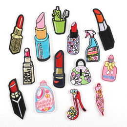baby iron patches UK - Lipsticks Embroidery Patches American POP Art Fabric Sew Iron On Applique Patch Badge DIY Apparel Badges For Baby Kids Girls Clothes Jeans
