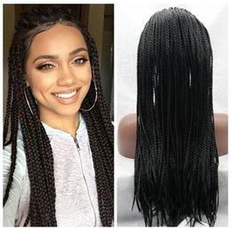 Glueless Wig Braids For Australia - Cheap Wig 30#1b# Brown Black Braided Wigs with Baby Hair Long Braids Wigs Glueless Synthetic Lace Front Wigs for Black Women Heat Resistant