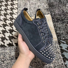 cheap leisure shoes for men NZ - Cheap Luxury Women,Men Grey Suede Leather Spikes Sneaker Shoes Red Bottom Shoes For Walking Famous Sports Leisure Flats EU35-46