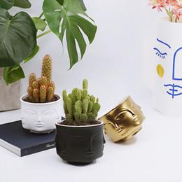 $enCountryForm.capitalKeyWord Australia - heap Flower Pots & Planters American Creative Design Planter Face White Nordic Ceramic Small Decorative Vase Flower Pot Succulents In...