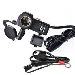 venda por atacado Motocicleta 2.1A carregador USB cigarro Waterproof isqueiro 2 em 1 carregador de energia guiador motocicleta com linha de switches 1.5M