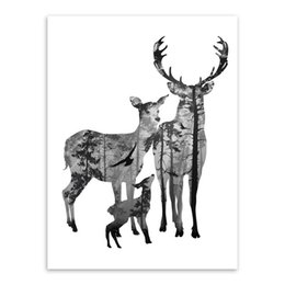 $enCountryForm.capitalKeyWord UK - Art unframe drawing core custom Scandinavian simple black and white deer family decorative painting hangs a picture poster motivational lett